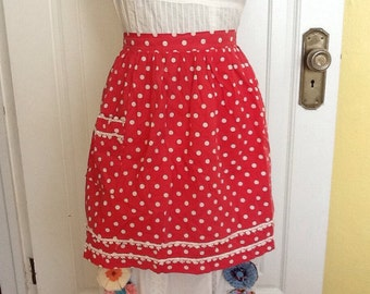 Vintage hostess apron Red White Polka Dots Crochet Trim