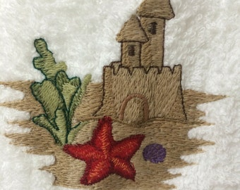 Sandcastle Embroidered Hand Towel