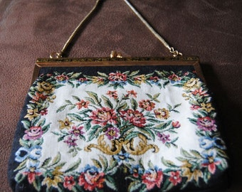 Vintage Needlepoint Tapestry Evening Purse