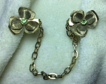 Vintage Gold FLOWER Sweater Guard Clip Chain