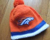 DENVER BRONCOS Hand Knit Baby Hat, Denver Broncos Hat, Broncos Football, Football Baby Hat, Hand Knitted Baby Hat