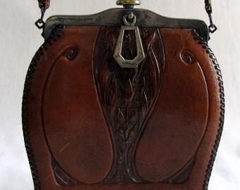 Vintage 1920s Leather Art Nouveau Tooled Handbag Turnloc Locking Clasp