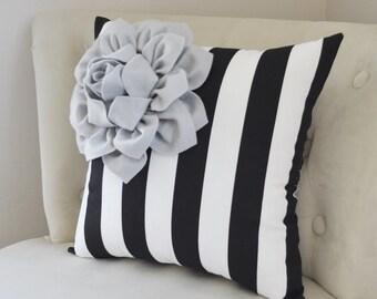 Canopy Stripe Home Decor - Gray Corner Dahlia on Black and White Stripe Pillow 14 X 14 - Black and White Decor-