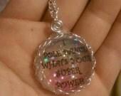 I pole dance what's your super power pendant, necklace, rainbow, glitter, gem pendant
