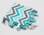 MINI Baby Ribbon Tag Blanket - Minky Binky Blankie - Grey and Teal Chevron