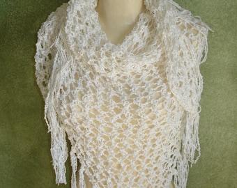 White Hand Knit Lace Shawl Shoulder Wrap Boho Chic Bridal or Concert Shawl