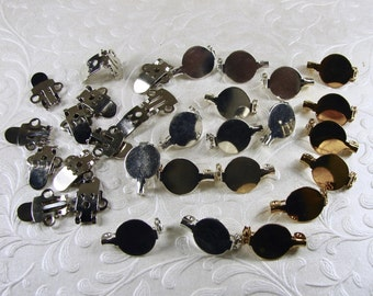 Mixed Lot Brooch Lapel Shoe Clips Blanks Pins Backs Clips Gold and Silver Tone Metals