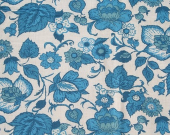 Vintage Feedsack Floral Feed Sack Flour Sack Fabric Blue Flowers 38 x 42 inches