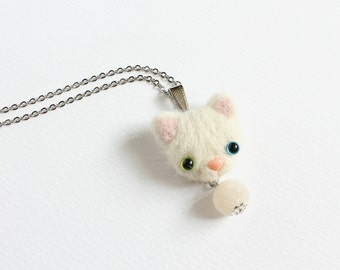 Needle Felted Heterochromic White Cat necklace or brooch or ring or shawl pin