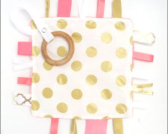 Gold and Coral- Gold Dots- Coral Minky Dot-  CRINKLE CRACKLE with ribbons and pacifier clip holder- Wood Ring Teether