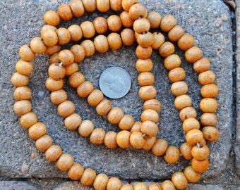 Round Wood Beads:  9x10mm