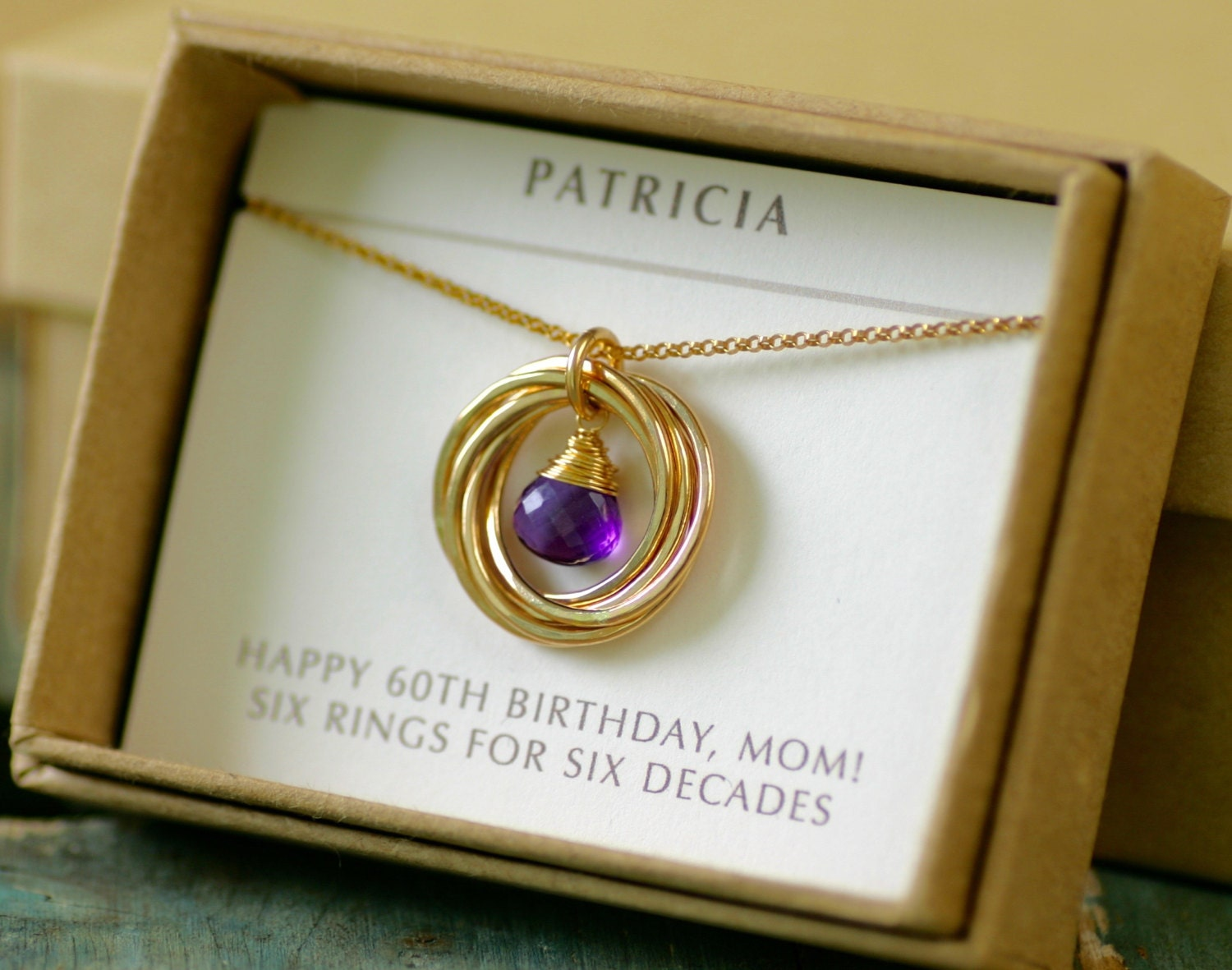 11 60th Birthday T For Mom Necklace Amethyst Gold