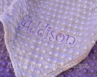 Personalized Baby Blanket CHOOSE YOUR COLORS- lavender and jewel purple-baby stroller blanket