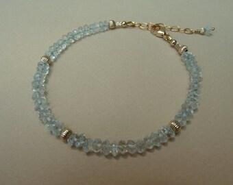 Aquamarine Bracelet, Gemstone Stacking Bracelet, Gemstone Layering Bracelet, Stackable Bracelet, Gold Filled Bracelet, March Birthstone