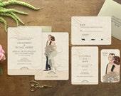 "Vintage Style Wedding Invitation, Art Deco Wedding Invitation, Vintage Glam, Art Deco Wedding, 1920's Wedding Dress, ""Beautiful Aisle"" theme"