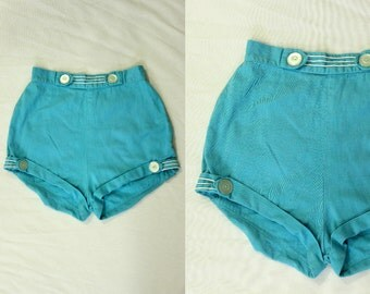 1950's Blue Denim Cuffed Shorts S M High Waisted Blue Jean
