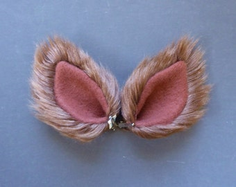 Chocolate Brown Faux Fur Costume Cosplay Ears Wolf Dog Coyote Cat