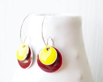 Silver Enamel Drop Earrings - Maroon, Yellow, Geometric Hoops, Modern Jewelry, Contemporary, Simple, Wine