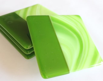 GLASS DRINK COASTERS - Apple Green Fused Glass Coaster Set, Engagement Bridal Shower Gift, Under 25, Coasters for Drinks, Green Fused Glass