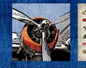"Aviator by Dan Morris for Quilting Treasures - 24"" x 44"" Panel Airplane Blueprints, Propellers, Vintage Airplanes on Navy"