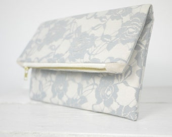 Gray lace clutch, fold over grey lace clutch   Light Gray Rose Lace Clutch