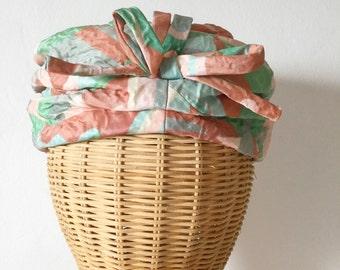 Vintage 50s / 60s / Mint Green / Peach / Bow Tie / Keyser Lint / Turban Hat