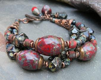 Red Bracelet Rustic Copper Czech Glass Bohemian Beaded Jewelry