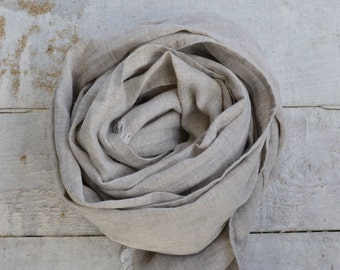 Pure linen scarf natural linen color scarf women men spring summer eco friendly