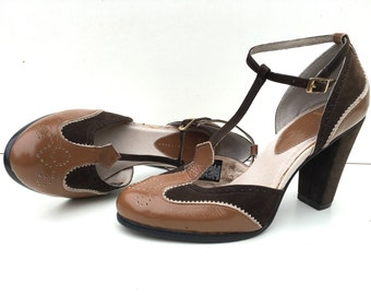 Brown T-Strap Mary Janes High Chunk Heel Two Tone Spectators 9.5