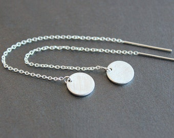 Threader Earrings - Sterling Silver 9mm Brushed Circles / Discs