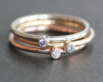 Small 2mm Diamond Ring -14K Solid Recycled Gold Band - Yellow / Rose / White Gold - Conflict Free Diamond (1 Ring) - READY TO SHIP - Size 6