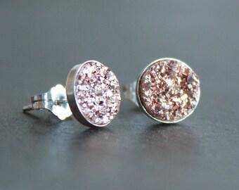 Rose Gold Drusy Sterling Silver Earrings - Post / Stud Earrings - 8mm