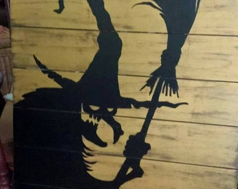 Wicked witch silhouette, prim halloween sign, gothic decor