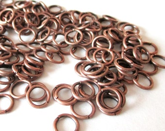 Jumprings - Antique Copper Jump Rings - 8mm- 19g. 100 Pcs approx - 18 guage - Copper Metal Jewelry Findings - Diy Craft Beading