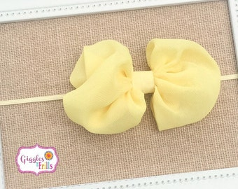 Yellow Chiffon Bow Headband, Light Yellow Headband, Baby Headband, Yellow Messy Bow Headband, Toddler Headband, Yellow Bow Headband