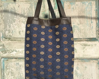 Handmade Brown Leather and Navy Blue Bag