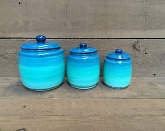 Custom Set Kitchen Canisters - Pick your Colors and Patterns - 3 Piece - S,M,L - Ombre Gradient - Shades of Teal
