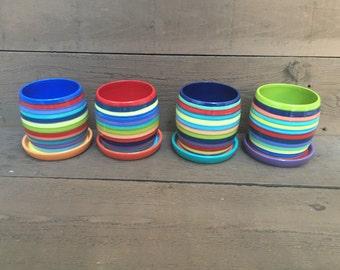 Medium Ceramic Flower Pot with Drip in Bright Rainbow Colors Stripes - Candy Apple Red Interior and Salsa Orange and Aqua Blue Dish