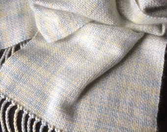 "Cashmere Silk Scarf, Hand Woven Scarf, Pale Blues and Naturals, Handwoven Cashmere - 10""x80"""