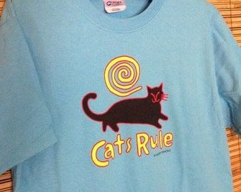 Cats Rule tee, aquatic blue  copyright Hillary Vermont