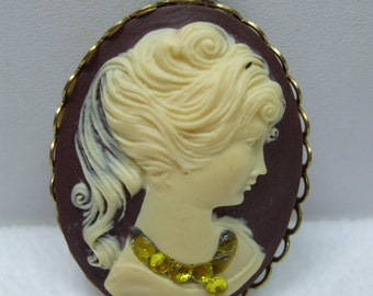 Vintage Reproduction  Brown Cameo with Yellow Rhinestone Necklace