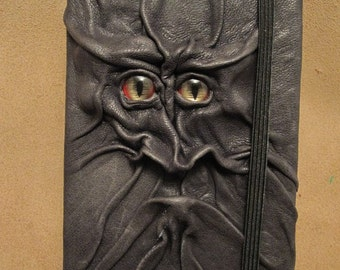 Grichels leather deluxe medium notebook/sketchbook - black with red and gold slit pupil shark eyes