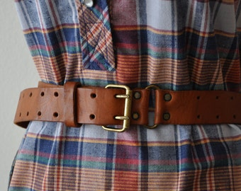 Vintage 70s Leather Belt Fits Multiple Sizes up to 38 Inch Waist