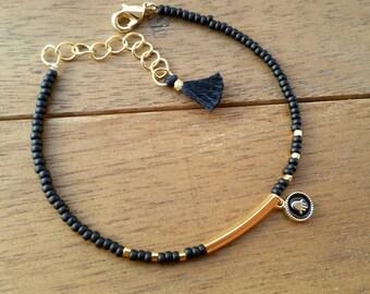 Black and Gold Hamsa Charm Bracelet  - Friendship Bracelet