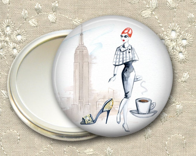 fashionista pocket mirror,  original art hand mirror, mirror for purse, bridesmaid gift  MIR-FASH-7