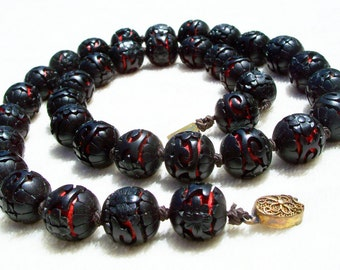 Carved Cinnabar Bead Necklace Black to Red Chinese Lacquer Vintage Antique Silver Filigree Clasp