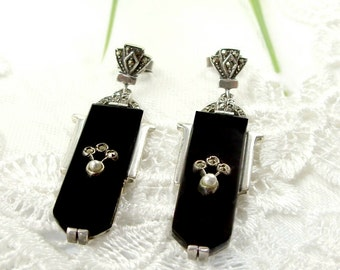 Long Vintage marcasite earrings with Onyx in Art Deco style || ОНИКС 135