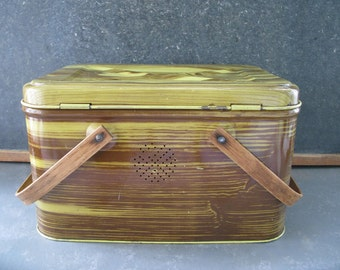 Vintage Metal Hamper Basket, Faux Bois, Wood Grain, wood handles