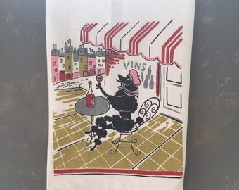 Vintage Cotton Tea Towel, French cafe theme, wine, poodle, cotton, pink, black