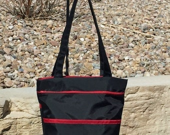 Zippered Carry-On Tote Back in Black and Red Nylon Fabrci